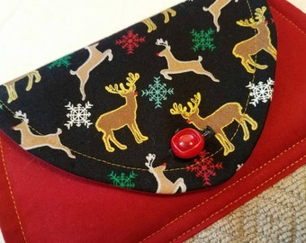 Rudolph Hanging Kitchen Towel, Reindeer Button Top Dish Towel, Holiday Home, Kitchen Linens, Hostess Gift, Secret Santa, Whismical Christmas