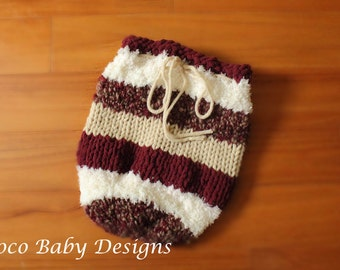 Knitted Baby Sleep Sack - Burgundy Multi and Brown Multi - Made to Order - Great Photo Prop