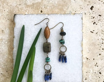 Unique earrings, a symmetrical earrings, lapis jewelry, boho jewelry , bohemian jewelry, spring jewelry, Mother's Day gift, spring fashion