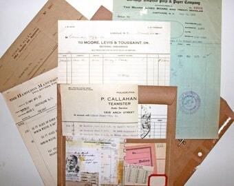 Vintage Ephemera Receipts*5 Receipts with Altered Envelope*Ephemera Bill Invoice Receipts 1920's