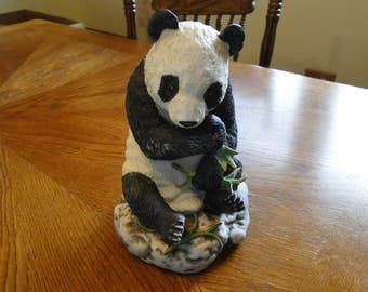 Vintage Lefton Panda Figurine, Black & White Bear Eating Bamboo Figure, Wildlife Sculpture, Animal Statue