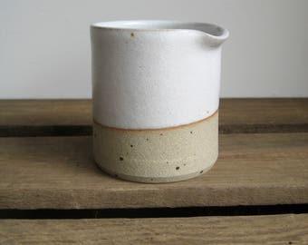 Jug - Mini White Stoneware Milk Jug, Small Pouring Tip Jug, Rustic Pourer, Hand Thrown Pottery