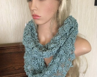 Ooak unique womens designer lace effect hand knit/crocheted ,green,cowl,scarf,infinity neckwarmer