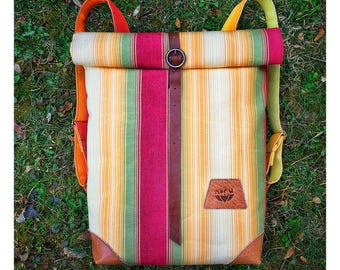 Vibrant bike backpack, upcycled WATERPROOF, durable industrial canvas bike bag, striped, vibrant colours.