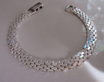 Vintage Designer NAPIER Silver Link Bracelet, Snap Down Closure, Birthday, Anniversary, Napier Jewelry, Silver Link Bracelet, Gift For Her