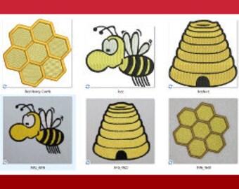 Bee Honey Comb Bee Hive Machine Embroidery Design Bugs  Honey Bee