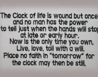 Clock of Life  Machine Embroidery Design Great on a Pillow Inspiration