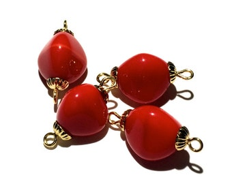 Vintage Glass Beads, Red Glass Beads, 4 pcs