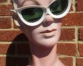 Vintage 50s 60s White Oversized Cat Eye Sunglasses // Green Lenses // Made Italy