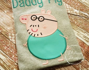 Peppa Pig Daddy Pig Family Birthday Custom Tee Shirt - Customizable -  Infant to Adults 292a
