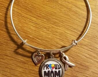 Proud Mom Autism Awareness Themed Expandable Charm Bracelet