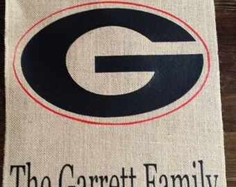 Personalized Monogrammed Burlap Garden Flag UGA go Dawgs Ga Bulldogs  Great for Tailgate