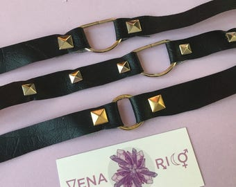 Faux Leather Choker - Brass D ring, Gold O ring, Studded, Vinyl, Faux Leather