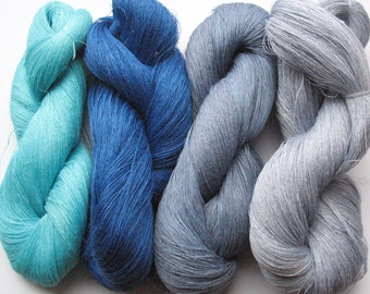 Linen Yarn Azure Blue Gray 400 gr (14 oz ), Cobweb / 1 ply, each hank contains approximately 3000 yds