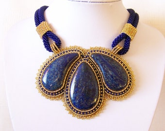Statement Beadwork Bead Embroidery Pendant Necklace with Lapis Lazuli - ROYAL GARDENS - dark blue gold - fashion necklace