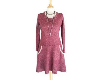 Long sleeve maroon dress, Boho dress, Winter dress, Pockets dress, Party dress, Warm dress, Wine dress, Red dress, Above the knee dress