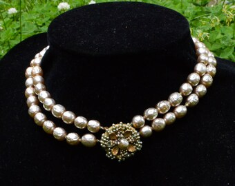 Mid Century Miriam Haskell Baroque Pearls Double Strand Choker / Necklace