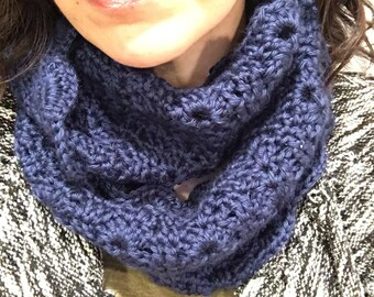 Scalloped Edges, Blue, Crochet Cowl, Infinity Scarf, All Season Scarf!