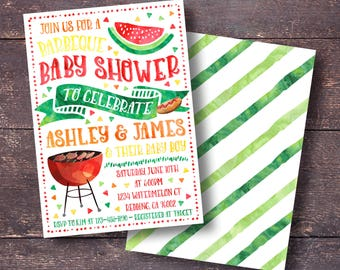 BBQ Baby Shower Invitation, Barbecue Baby Shower Invitation, Baby Q Invitation, Summer Baby Shower Invitation, Watermelon Baby Shower