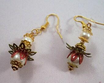Flower Drop Earrings With Glass Pearls