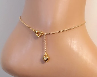 Gold Plated Heart Anklet, Gold Anklet Bracelet, Gold Filled Anklet, Foot Bracelet, Tiny Heart Charm Anklet, Gift for Her, Happy Valentines D