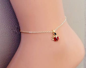Gold Plated Ladybird Bracelet, Ladybug Charm Pendant, Gold Jewelry, Gift for her, Gold Plated Anklets, Toddler, Child , Bracciale coccinella
