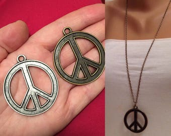 Brass Peace Sign Necklace, Freedom Sign Necklace, Freedom Pendants, Jewelry ,Gift for her, Freedom Jewelry, silver, brass