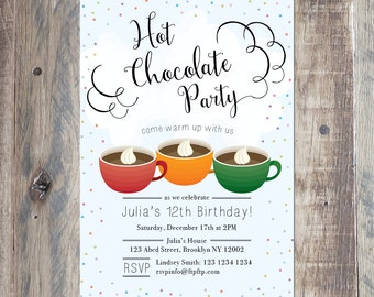 Custom Birthday Invitation - Hot Chocolate Party Invitation - Cocoa Party - Printable PDF or Jpeg