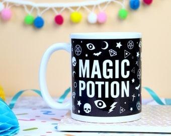 Magic Potion Mug. Witch's Mug. Potion Mug. Witchcraft and Wizardry. Witch Mug. Gothic Mug. Pentagram Mug. Halloween Mug. Literary Gifts.