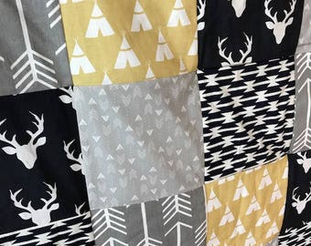 Deer and Arrow Patchwork Blanket,Justin Set,navy,gray, mustard,Boy,blanket pin, baby bedding neutral, modern, shower gift guest