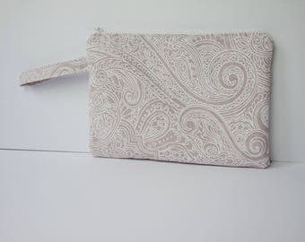 Flat zipper pouch/ Makeup/ Clutch bag