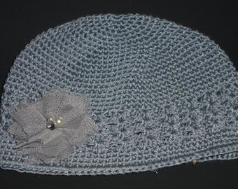 Chemo Gray Crochet Hat with Gray and Mauve Flower . Gray Chemo Hat with Chiffon Flower