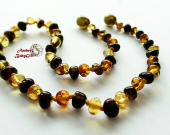 Polished Baltic Amber Teething Necklace - Baltic Amber - Multicoloured Amber Beads - Baby Jewelry - Screw clasp - Choose Your Length, K-6