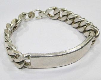Vintage antique 925 sterling silver link chain Bracelet Bangle Rajasthan India