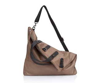 Walnut brown leather crossbody bag- Convertible soft Leather bag SALE brown leather messenger bag - Women leather backpack- leather Rucksack