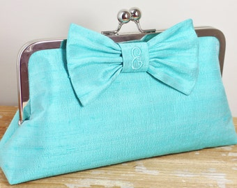 Personalized Silk Dupioni Bow Clutch - Wedding Clutch - Bridesmaid Clutch - Tiffany Blue