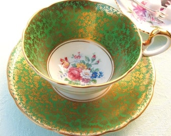 Vintage Tea cup Set Aynsley Fine Bone China - Green and Gold Gilt Fine Bone China Teacup and Saucer   England   Mid Century