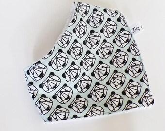 6-12 months baby BANDANA bib fabric Panda green mint and white towel ORIGAMI