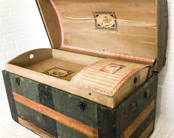 Antique Dome Top Trunk with Tray Insert Wood Slats Tin