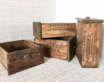 4pc Set Salvaged Antique Workbench Drawers Reclaimed Wood Packing Crate Storage Boxes