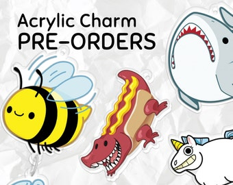 PREORDER: Bee, Shark, Farting Unicorn, or Hot Dog Gator Clear Acrylic Phone Charm/Keychain