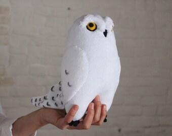 Snowy owl plush toy , white owl toy - art doll, polar owl stuffed toy, arctic owl