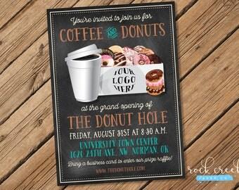 donut shop invitation donut shop grand opening coffee u0026 donuts invitation doughnut shop - Donut Shop Coffee