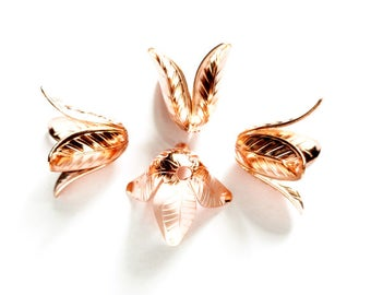 4 Rose Gold Plated Bead Caps - 18-2