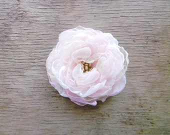 Large Blush Flower Hair Clip One Of A Kind Handmade Bridal Hair Flower by Fairytale Flower