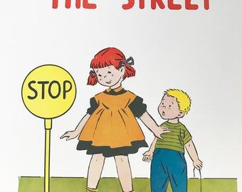 Vintage children safety 1950s educational posters