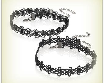 Black Dainty Flower Choker Daisy Choker  Black Choker Necklace Black Flower Choker