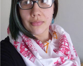 Harry Potter Hogwarts Crest and Deathly Hallows Screen Printed Infinity Scarf