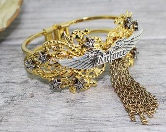 Gold US Air Force Cuff Bracelet Mixed Media Piece OOAK