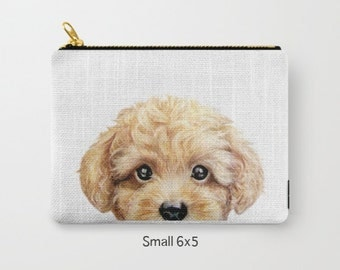 Yellow Beige Toy poodle, Pouch original Dog illustration design, print on both sides, carry pouch